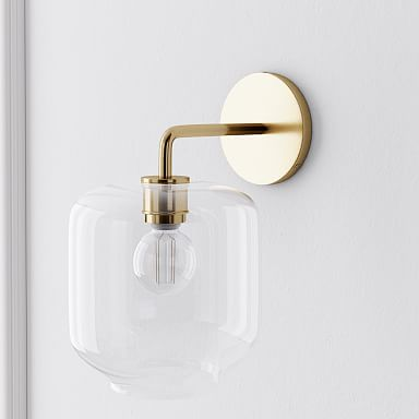 Sculptural Glass Pebble Sconce - Clear