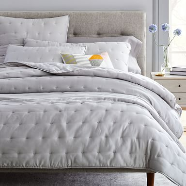 TENCEL™ Crescent Stitch Quilt & Shams - Frost Gray