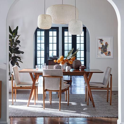 Mid Century Expandable Dining Table Walnut