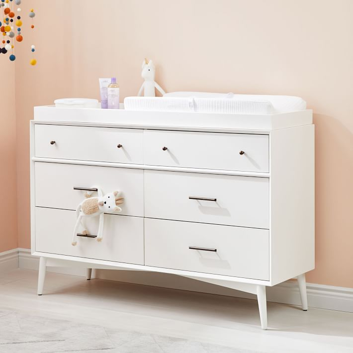 Mid Century 6 Drawer Changing Table White