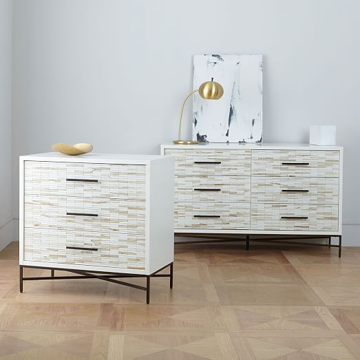 Wood Tiled 3 Drawer Dresser
