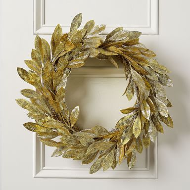Kraft & Glitter Leaves Wreath - Gold