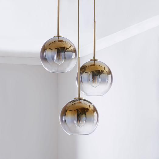Sculptural Glass 3 Light Globe Chandelier Metallic Ombre