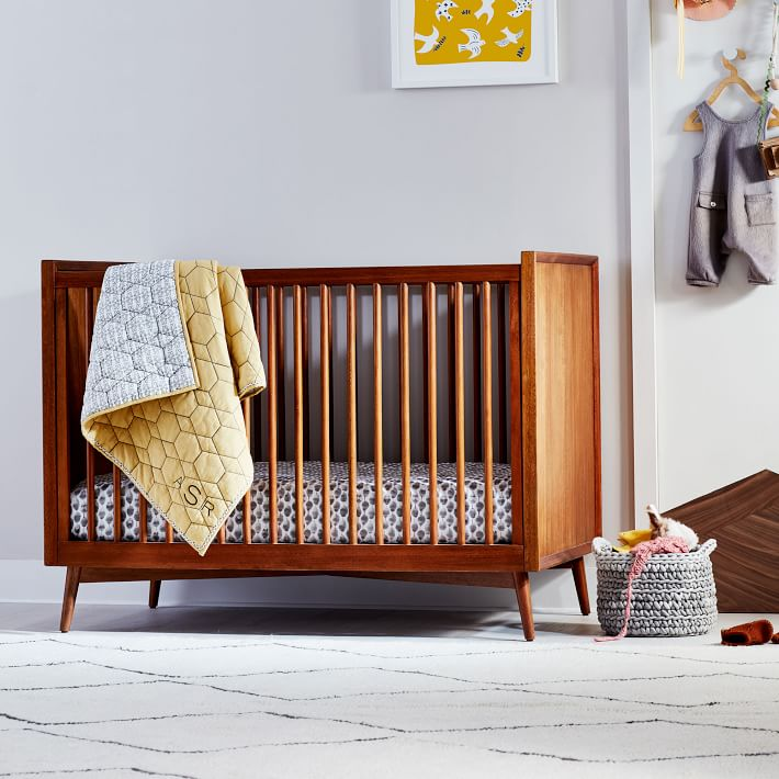 Mid Century Convertible Baby Crib Acorn