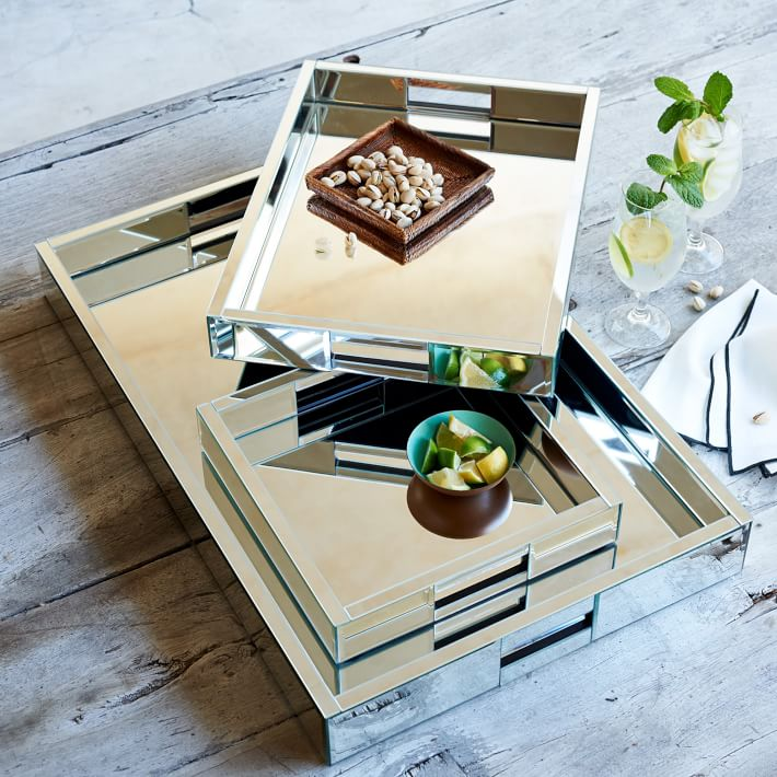 Mirror Wrapped Serving Trays