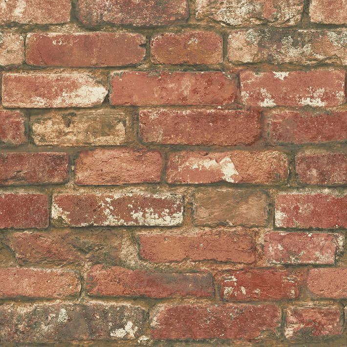 Distressed Red Brick Peel Stick Wallpaper