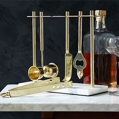 Deco Barware Collection, Brass + Marble (Set of 4)