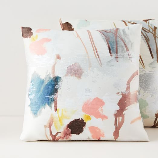 Gilded Watercolor Brocade Pillow Covers