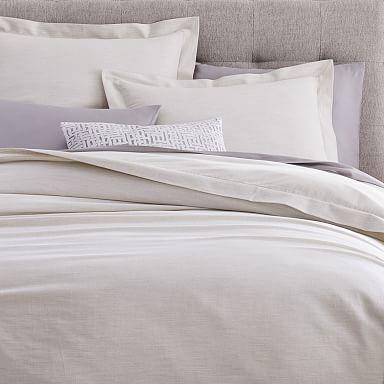 Heathered Cotton Sateen Duvet Cover & Shams - Gray Fog