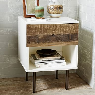 Reclaimed Wood & Lacquer Nightstand