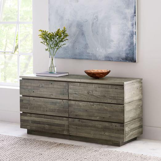 Modern Reclaimed Wood 6 Drawer Dresser
