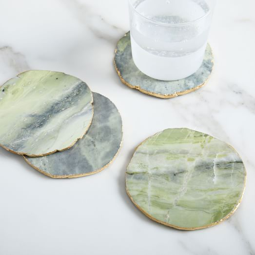 Onyx Marble Coasters Set Of 4 Chartreuse