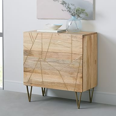 Roar & Rabbit™ Brass Geo Inlay 3-Drawer Dresser - Raw Mango