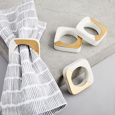 Marble & Brass Napkin Rings (Set of 4)