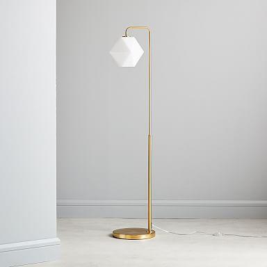 Sculptural Glass Faceted Floor Lamp - Milk