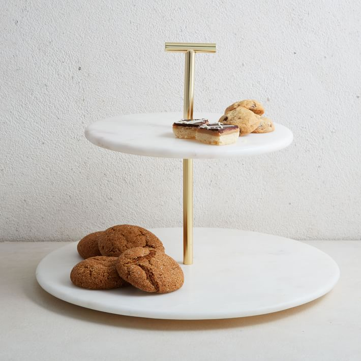 Marble Brass 2 Tier Cake Stand