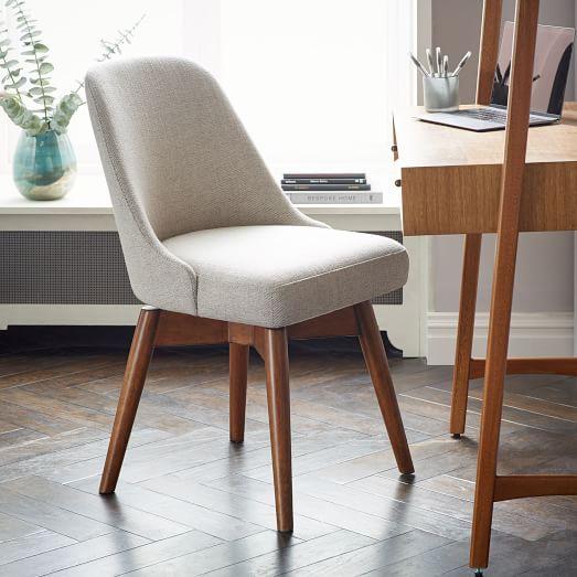Mid Century Swivel Office Chair Wood Legs