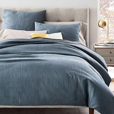 TENCEL™ Cotton Matelasse Duvet Cover & Shams - Stormy Blue