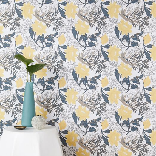 Chasing Paper Sketched Floral Print Removable Wallpaper Yellow