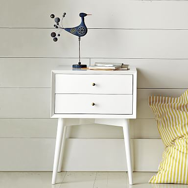 Mid-Century Nightstand - White Lacquer
