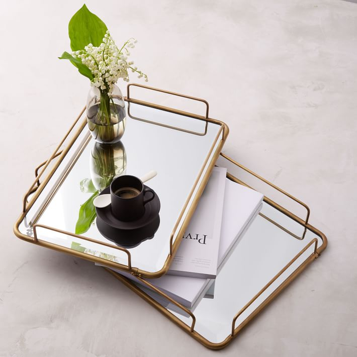 Fishs Eddy Gilded Cafe Mirror Tray Brass