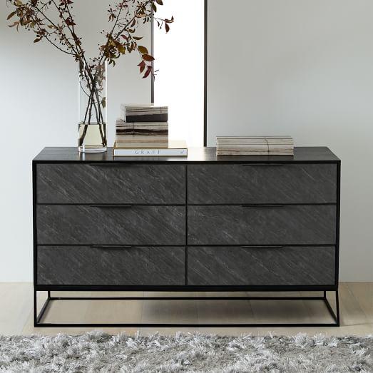 Slate Industrial 6 Drawer Dresser