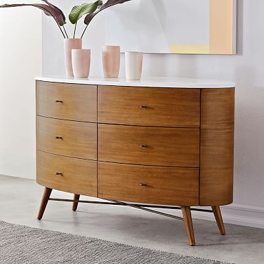 Penelope 6-Drawer Dresser - Acorn w/ Marble Top