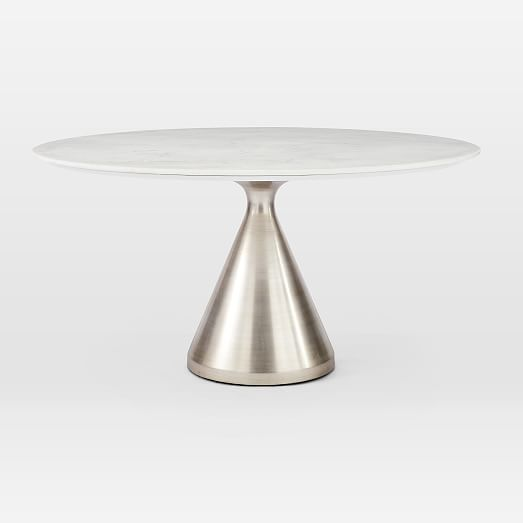 Silhouette Pedestal Round Dining Table White Marble Brushed Nickel