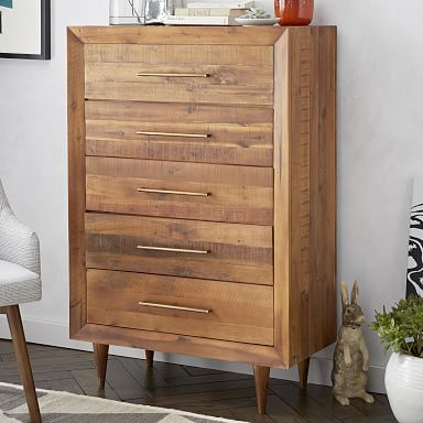 Alexa Reclaimed Wood 5-Drawer Dresser - Honey