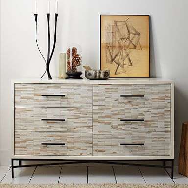 Wood Tiled 6-Drawer Dresser