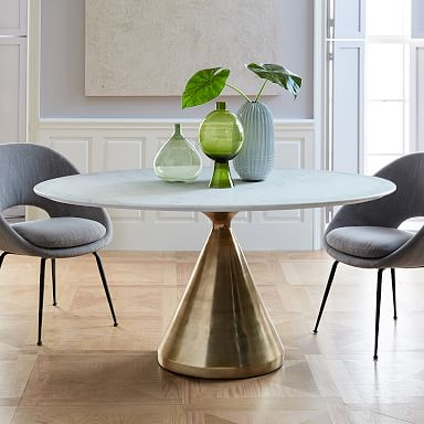 Silhouette Pedestal Oval Dining Table - White Marble/Antique Brass
