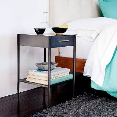 Metalwork Nightstand with Handle - Hot-Rolled Steel Finish