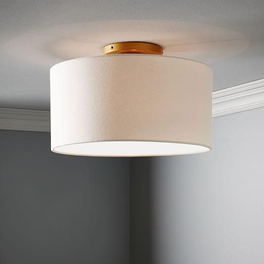Fabric Shade Flush Mount Lighting Drum
