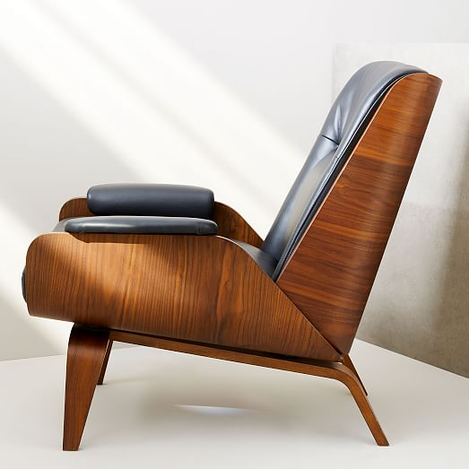 Paulo Bent Ply Leather Chair, Bent Wood Arm Recliner