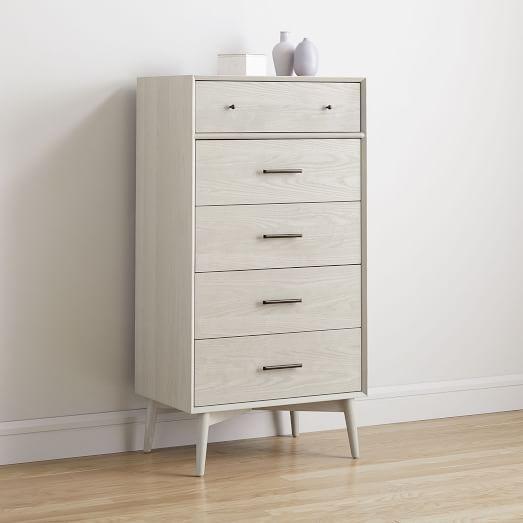Mid Century 5 Drawer Dresser Pebble