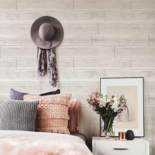 Stacked White Wood Grain Peel Stick Wallpaper