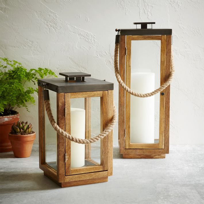Wood Rope Lanterns Natural