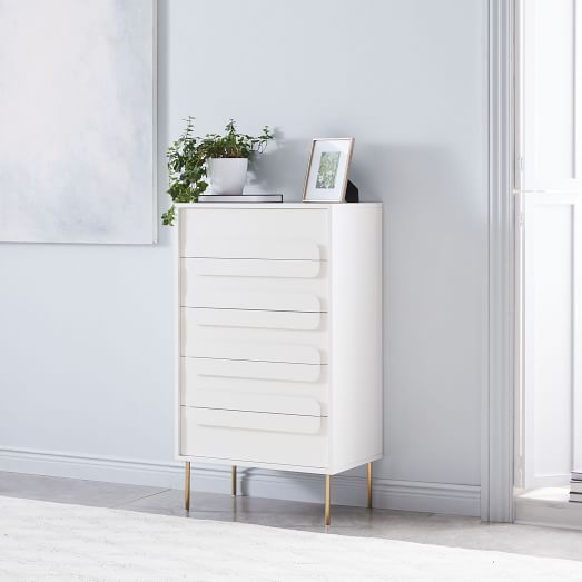 Gemini 5 Drawer Dresser White Lacquer