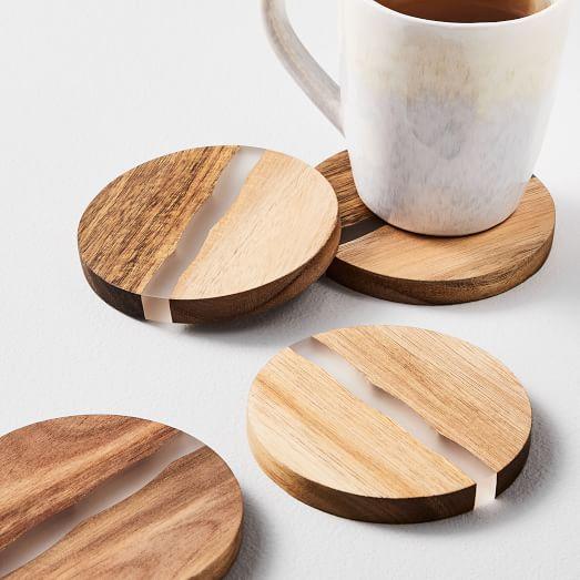 Wood Resin Coasters Set Of 4