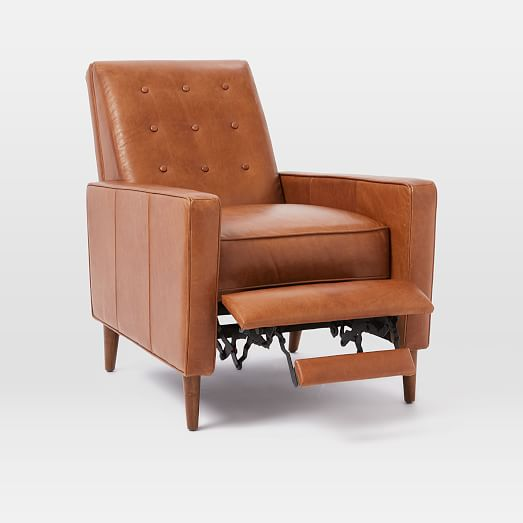 Rhys Mid Century Leather Recliner