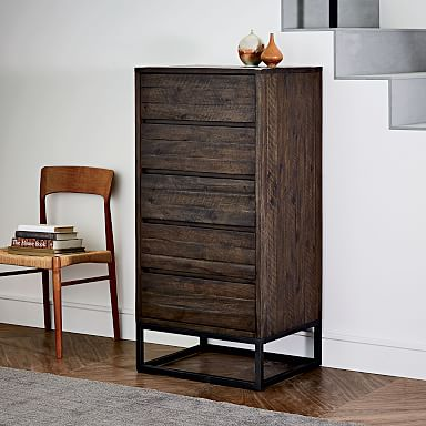 Logan Industrial 5-Drawer Dresser - Smoked Brown