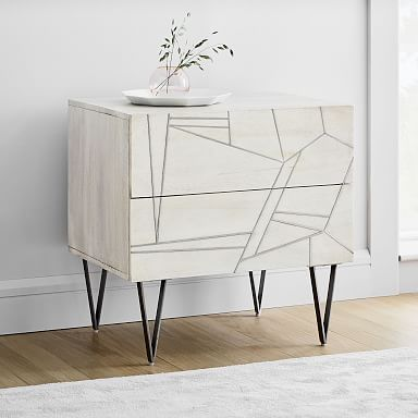 Roar & Rabbit™ Silver Geo Inlay Nightstand - Bone