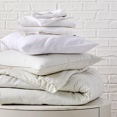 European Flax Linen Cotton Metallic Quilt Starter Bedding Set - Stone White