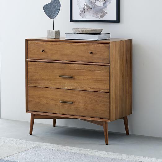 Mid Century 3 Drawer Dresser Acorn