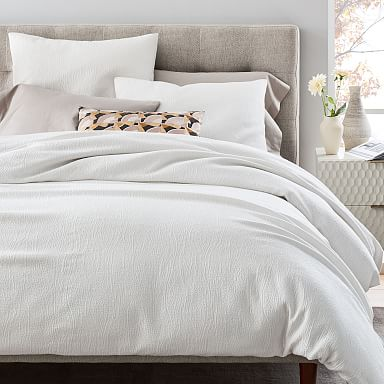 TENCEL™ Cotton Matelasse Duvet Cover & Shams - Stone White