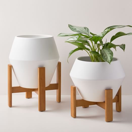 Ilya Turned Wood Planters White