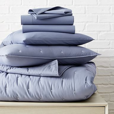 Washed Cotton Percale Quilt Starter Bedding Set - Blue Fog