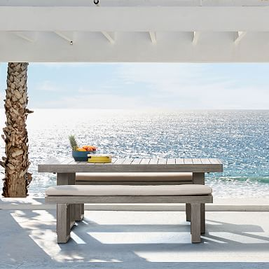 """Portside Outdoor 76.5"""" Dining Table & 66"""" Bench Set"""