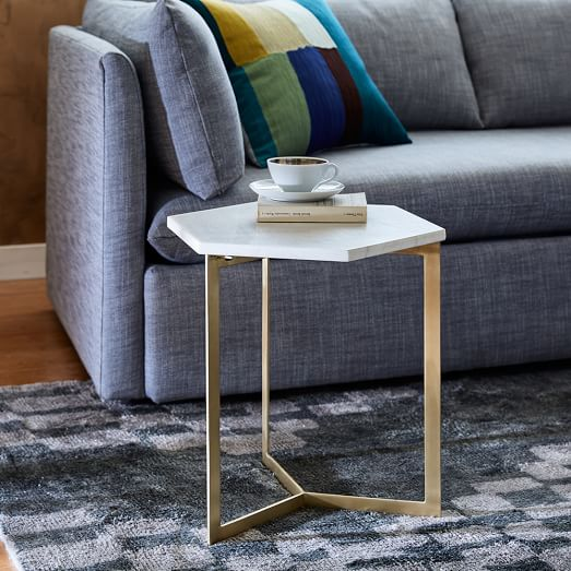 Shop Hex Side Table – Antique Brass from West Elm on Openhaus