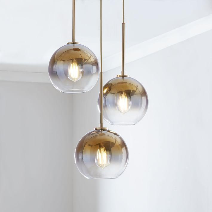 Shop Sculptural Glass 3-Light Globe Chandelier - Metallic Ombre from West Elm on Openhaus